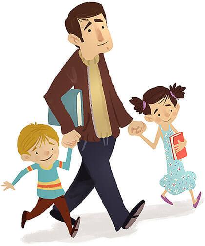Schulbegleiter mit zwei Kinder auf dem Schulweg
